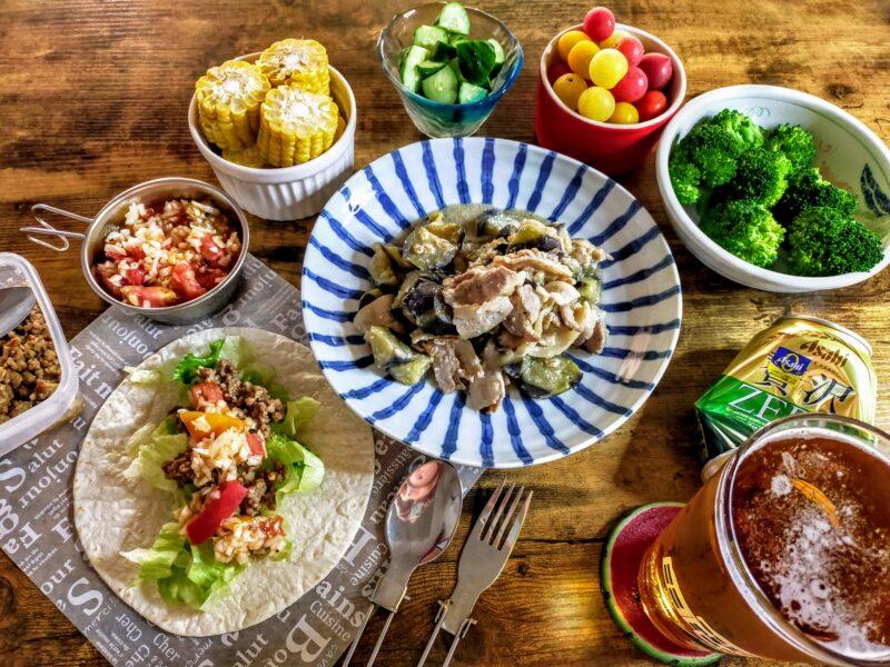 ナスと豚バラの味噌炒めと肉味噌アレンジレシピの手作りサルサソースのトルティーヤ
