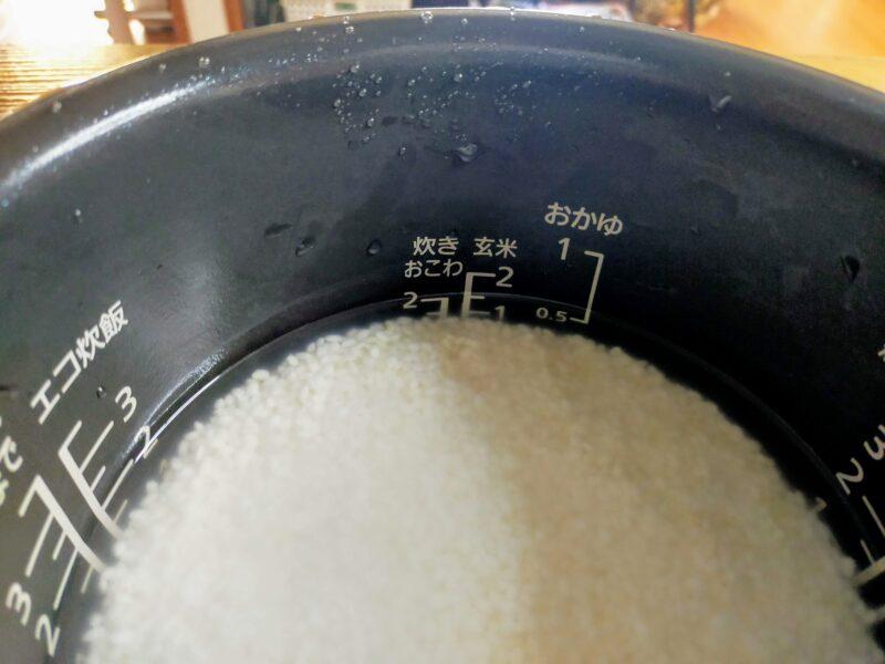 炊飯器のおこわの目盛り
